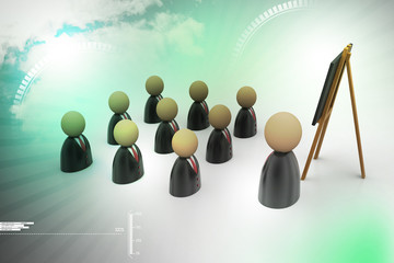 Icon of peoples in business suit and blackboard