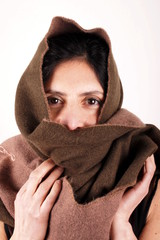 Woman with brown scarf