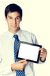 Businessman showing blank taplet pc monitor