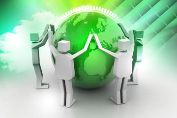 Businessman around the world, Teamwork concept