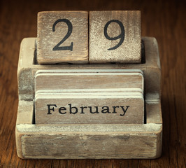 A very old wooden vintage calendar showing the date 29th Februar