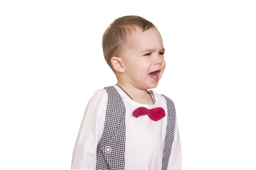 little boy in a checkered suit and bow tie on