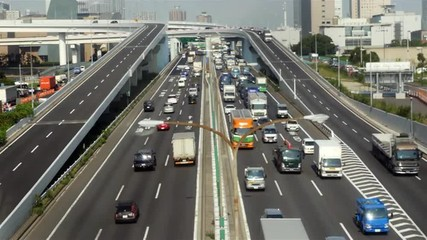 Busy Truck Traffic on Japanese Highway - Tokyo Japan
