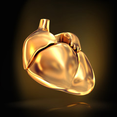 Golden heart  on black  background.