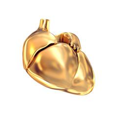 Golden heart  on white  background.