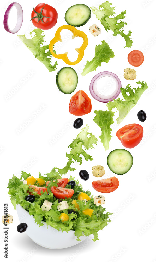 fototapeten gesund vegetarisch essen salat mit tomate gurke zwiebel und pa. Black Bedroom Furniture Sets. Home Design Ideas