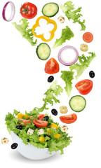 Gesund vegetarisch Essen Salat mit Tomate, Gurke, Zwiebel und Pa