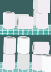 Toilet papers in cupboard, illustration.
