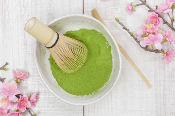Green tea.Preparation of matcha powdered green tea