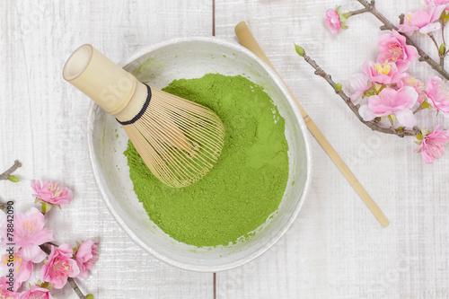 Foto op Canvas Koffie Green tea.Preparation of matcha powdered green tea