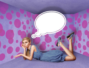 surprised blonde in blue dress with thought bubble