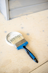 Molar brush lying on the cap of paint can