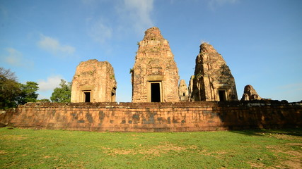 Zoom Out of Walled Temple in the Morning  - Angkor Wat Temple Cambodia