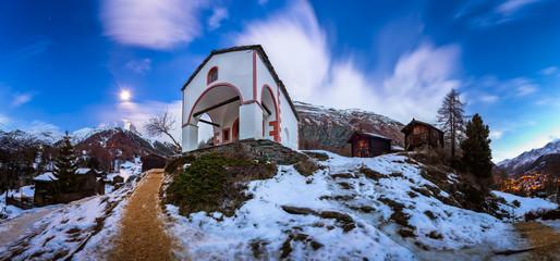 White Church on the Hill and Matterhorn Peak before Dawn, Zermat