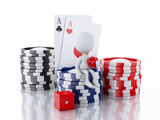 3d White people with casino tolkens, dice and cards.