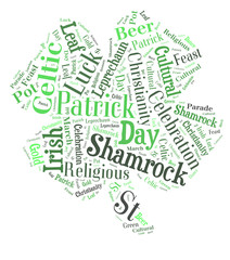 Four leaf shamrock word cloud on white background