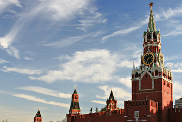 Moscow Kremlin red building with sky background