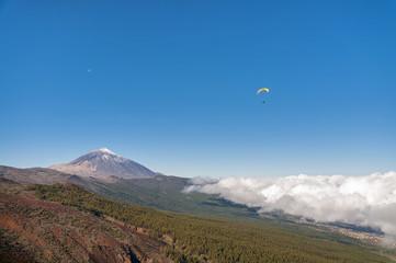 Paragliding on Teide Mountain. Tenerife