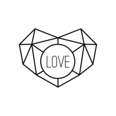 Geometric heart background with lines
