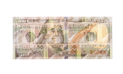 US dollar bill with hryvna bills isolated over white