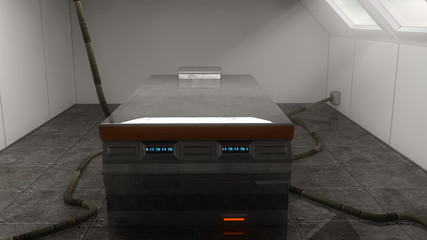 Futuristic autopsy table