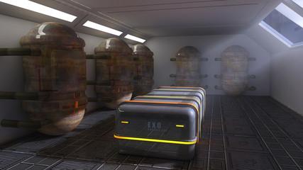 Futuristic room and exo capsules