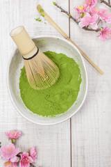 Green tea.Preparation of matcha powdered green tea