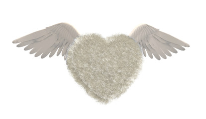 Heart in fur with bird wings isolated