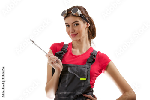 The girl stands with a wrench - 78846400