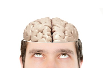 Brain in sliced mans head