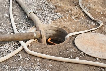 Grundwasserabsenkung - Abwasserumleitung - Einleitung in Kanal