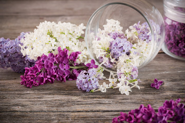 The beautiful lilac in jar on a wooden background