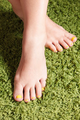 Colorful gel polished finger toes