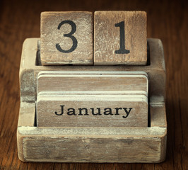 A very old wooden vintage calendar showing the date 31st January