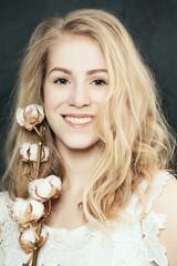 Elegance blonde woman smiling