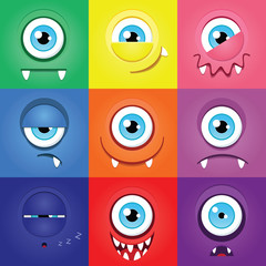 Set of funny cartoon expression monsters with one eye
