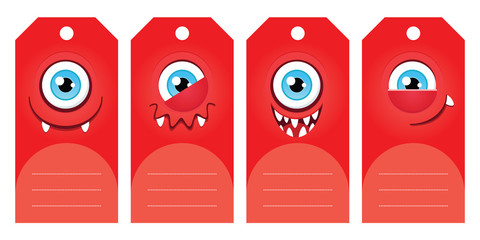 Gift tags with funny cartoon monsters