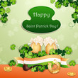 Saint Patrick's Day card with hat, horseshoe and clover