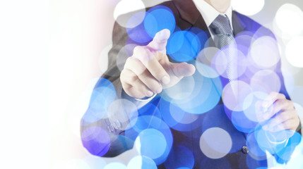 double exposure of businessman working with digital cloud networ