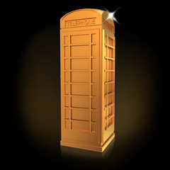 Golden telephone box  on a black  background