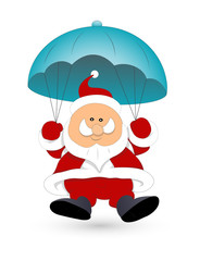 Santa Flying with Parachute