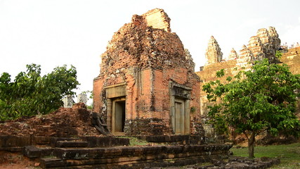 Zoom Out of Remains of Ancient Temple Ruins  - Angkor Wat Temple Complex, Cambodia