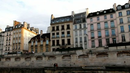 Along the Seine Embankments  on a pleasure boat .  Paris