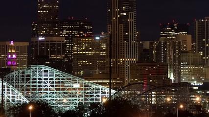 City skyline with an amusement park