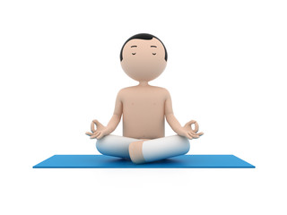 3d man practicing yoga in the lotus position