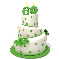 Birthday cake with number sixty