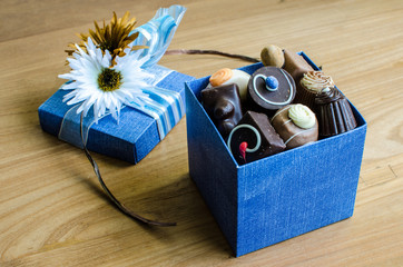 Chocolates in blue box