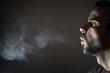 Profile of a person smoking - 78852886