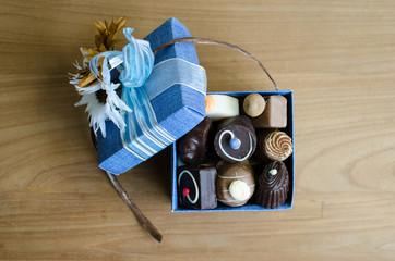 Chocolates in blue box