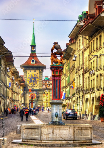 Fountain on the Kramgasse street in the Old City of Bern - Switz - 78853081